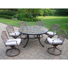 Tuscany Stone Art Swivel Chair Dining Set
