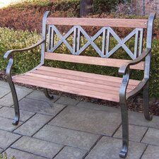 Triple Cross Wood and Metal Park Bench