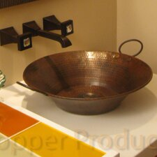 Round Minors Pan Hammered Copper Vessel Bathroom Sink