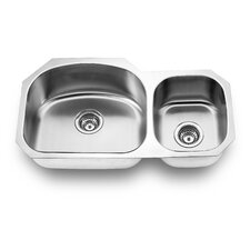 "31.88"" x 17.75"" Undermount Double Bowl Kitchen Sink"