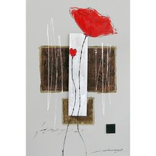 Long Stemmed Red Flowers Canvas Art