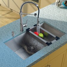 "32"" x 19"" Undermount Kitchen Sink with Faucet, Colander, Strainer and Dispenser"