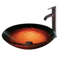 Magma Glass Bathroom Sink with Faucet