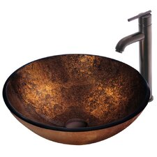Russet Glass Bathroom Sink with Faucet