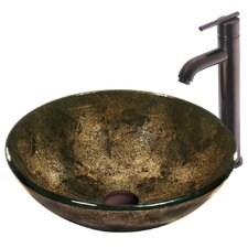 Sintra Glass Bathroom Sink with Single Handle Faucet