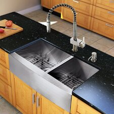"All in One 33"" x 22.25"" Farmhouse Double Bowl Kitchen Sink and Faucet Set"