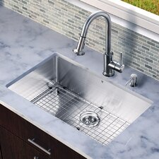 "All in One 32"" x 19"" Undermount Kitchen Sink and 17"" Faucet Set"