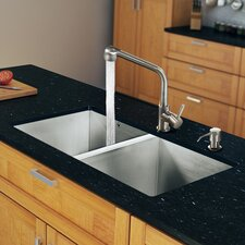 "32"" x 19"" Zero Radius Double Bowl Kitchen Sink with Faucet"