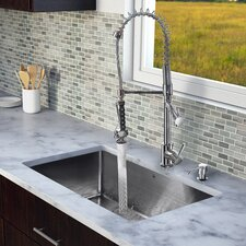 "32"" x 19"" Single Bowl Kitchen Sink with Sprayer Faucet"