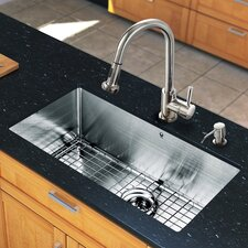 "30"" x 19"" Single Bowl Kitchen Sink with Pull-Out Sprayer Faucet"