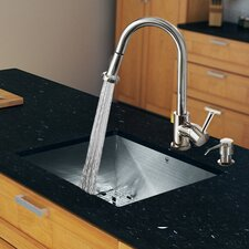 "23"" x 20"" Zero Radius Single Bowl Kitchen Sink with Pull-Out Sprayer Faucet"
