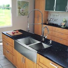 "All in One 33"" x 28"" Farmhouse Double Bowl Kitchen Sink and Faucet Set"