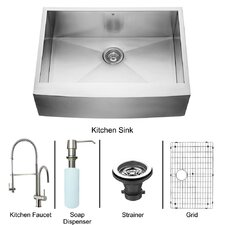 "All in One 30"" x 28"" x 22.25"" Farmhouse Kitchen Sink and Faucet Set"