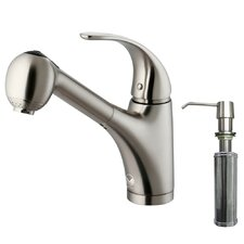 One Handle Single Hole Spray Kitchen Faucet with Soap Dispenser