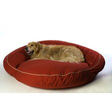 Classic Twill Bolster Dog Bed in Barn Red with Khaki Cording