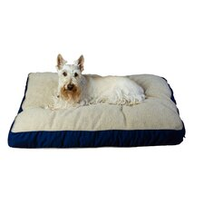 Four Season Pet Bed with Cashmere Berber Top in Blue with Khaki Cording