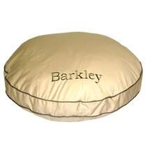 Twill Classic Round Pet Bed in Khaki with Sage Cording