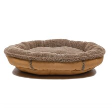 Faux Suede Oblong Comfy Cup® Dog Bed in Tan