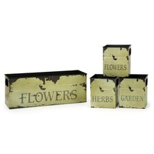 Tin Flower Planters (Set of 4)