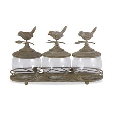 Avalon Lidded Canister with Tray (Set of 3)