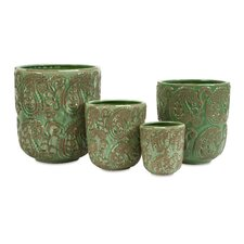 Paisley Oval Pot Planter (Set of 4)