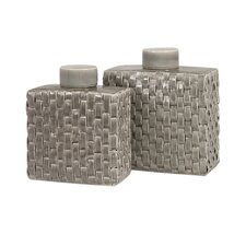 Sophie Woven Ceramic Canister (Set of 2)