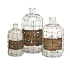 Dimora Wire Caged Bottles (Set of 3)