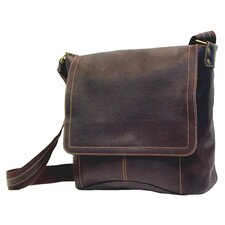 Vertical Simple Messenger in Distressed Leather