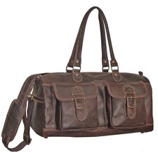 "19"" Distressed Leather Duffel"