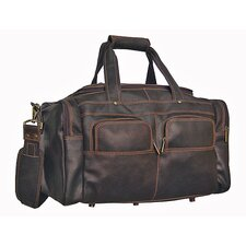 "19"" Distressed Leather Multi-Pocket Gym Duffel"