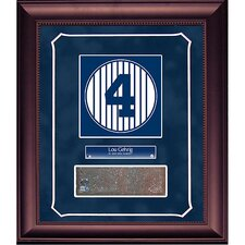 Lou Gehrig Retired Number Monument Park Brick Slice 14x18 Framed Collage with Nameplate