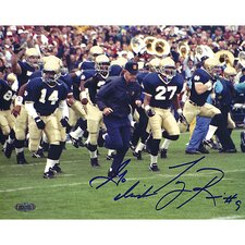 "Tony Rice ""Go Irish"" Lou Holtz Running with Team Horizontal Autographed"