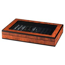 Classic Poet Pen Collector Box with 2 Trays in Faux Burl Wood Gloss