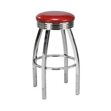 "Steel 30"" Backless Retro Metal Swivel Barstool"