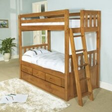 Convertible Twin over Twin Three Drawer Bunk Bed with Trundle Bed