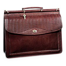 Tuscany Single Gusset Wood Dowel Flap Over Briefcase