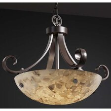 Alabaster Rocks 3 Light Inverted Pendant Bowl Scrolls with Finials