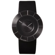 To Men's Watch with Black Rubber Band and Black Case