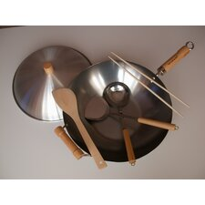 "6 Piece 14"" Flat Bottom Wok Set"