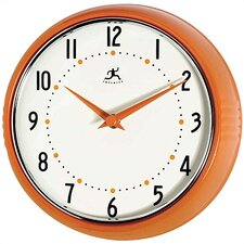 Retro Round Metal Wall Clock In Orange