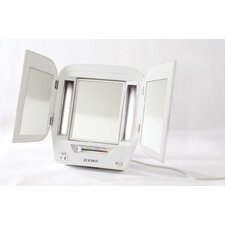 Euro Tabletop Dual Sided Tri-Fold Lighted Makeup Mirror with Built-In Outlet