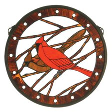 Lodge Animals Cardinals Medallion Stained Glass Window
