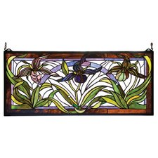 Victorian Floral Lady Slippers Stained Glass Window