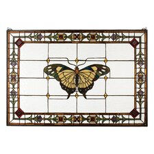 Tiffany Floral Nouveau Insects Victorian Butterfly Stained Glass Window