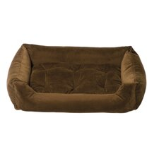 Plush Velour Nest Dog Bed in Molasses