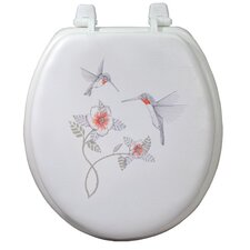 Magnolia Embroidered Soft Round Toilet Seat