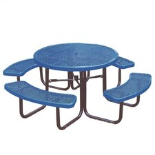 Round Picnic Table with Diamond Pattern