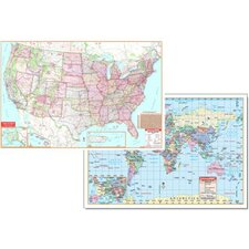 Us & World Physical Map Set 50x32 (Set of 2)