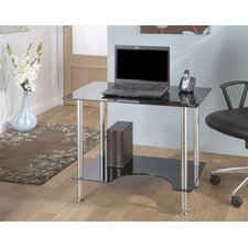 Small Computer Desk in Silver with Black Glass