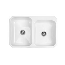 "Advantage Series 33"" x 22"" Pocasset 60/40 Double Bowl Undermount or Self Rimming Kitchen Sink"